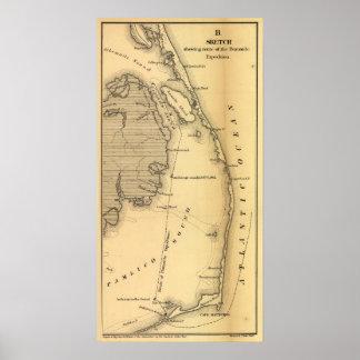 Mapa del vintage de Outer Banks (1862) Póster