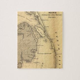 Mapa del vintage de Outer Banks (1862) Puzzles Con Fotos