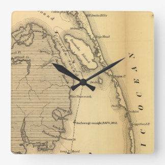 Mapa del vintage de Outer Banks (1862) Reloj Cuadrado