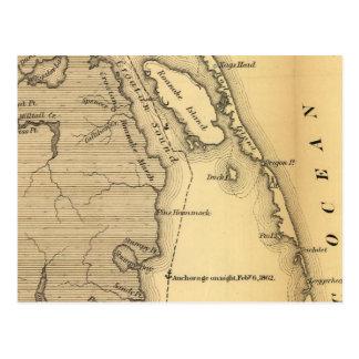 Mapa del vintage de Outer Banks (1862) Tarjeta Postal