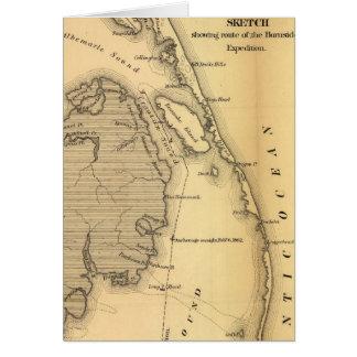 Mapa del vintage de Outer Banks (1862) Tarjeton