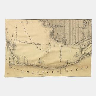 Mapa del vintage de Outer Banks (1862) Toalla