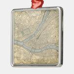 Mapa del vintage de PA de Pittsburgh (1891) Adorno Navideño Cuadrado De Metal