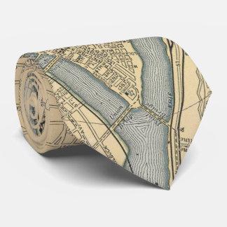 Mapa del vintage de PA de Pittsburgh (1891) Corbata