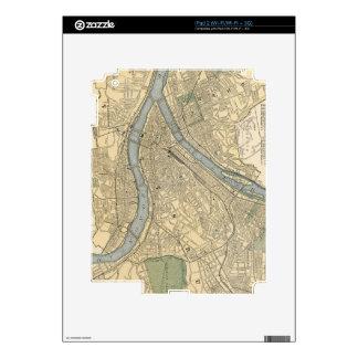 Mapa del vintage de PA de Pittsburgh (1891) iPad 2 Skins