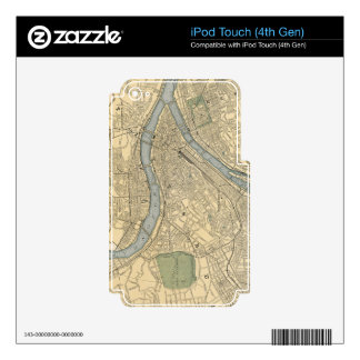 Mapa del vintage de PA de Pittsburgh (1891) iPod Touch 4G Calcomanía