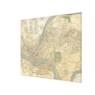 Mapa del vintage de PA de Pittsburgh (1891) Lienzo Envuelto Para Galerias