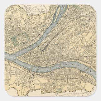 Mapa del vintage de PA de Pittsburgh (1891) Pegatina Cuadrada