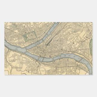 Mapa del vintage de PA de Pittsburgh (1891) Pegatina Rectangular