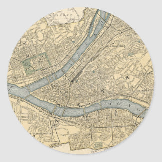 Mapa del vintage de PA de Pittsburgh (1891) Pegatina Redonda