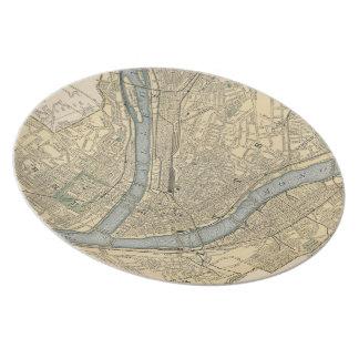 Mapa del vintage de PA de Pittsburgh (1891) Plato De Comida
