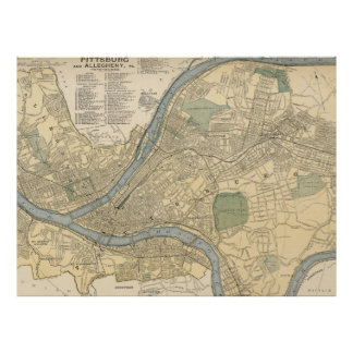 Mapa del vintage de PA de Pittsburgh (1891) Póster