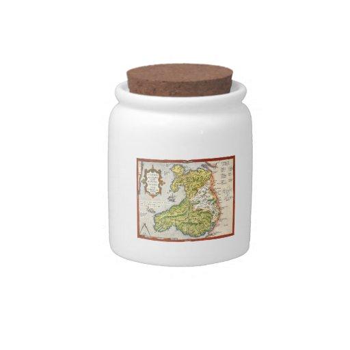 Mapa del vintage de País de Gales y de Anglesey Platos Para Caramelos