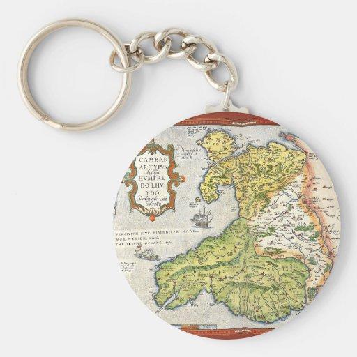 Mapa del vintage de País de Gales y de Anglesey Llavero Redondo Tipo Pin