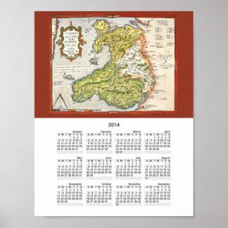 Mapa del vintage de País de Gales y de Anglesey Poster