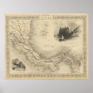 Mapa del vintage de Panamá (1851) Póster