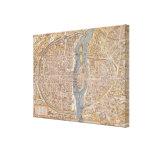 Mapa del vintage de París (1550) Impresiones En Lona Estiradas