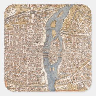 Mapa del vintage de París 1550 Calcomania Cuadradas Personalizada