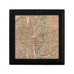 Mapa del vintage de París (1575) Cajas De Recuerdo