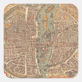 Mapa del vintage de París 1575 Etiqueta