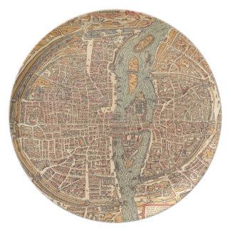 Mapa del vintage de París (1575) Plato De Comida