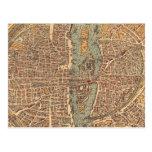 Mapa del vintage de París (1575) Postal