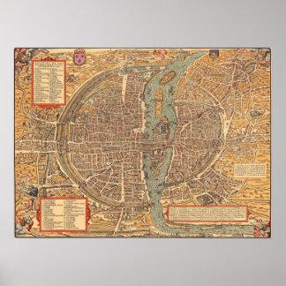 Mapa del vintage de París (1575) Póster