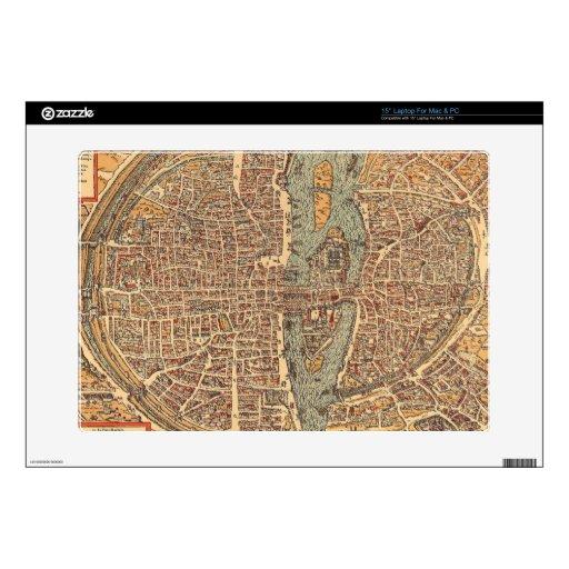 Mapa del vintage de París (1575) Portátil 38,1cm Skins