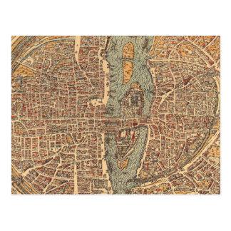 Mapa del vintage de París (1575) Tarjetas Postales