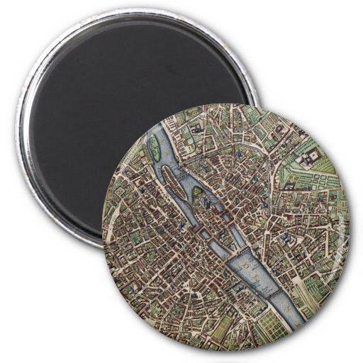 Mapa del vintage de París (1657) Imán Redondo 5 Cm