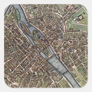 Mapa del vintage de París 1657 Pegatinas Cuadradas Personalizadas