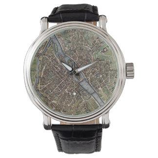 Mapa del vintage de París (1657) Relojes De Mano