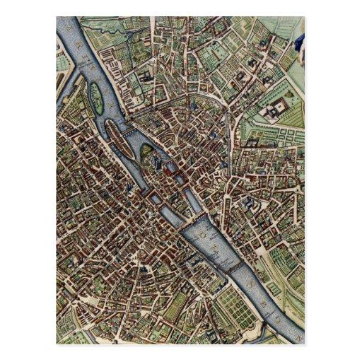 Mapa del vintage de París (1657) Tarjetas Postales