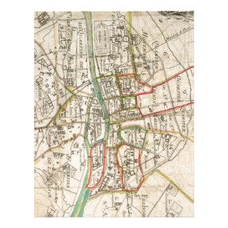 Mapa del vintage de París (1678) Membrete Personalizado