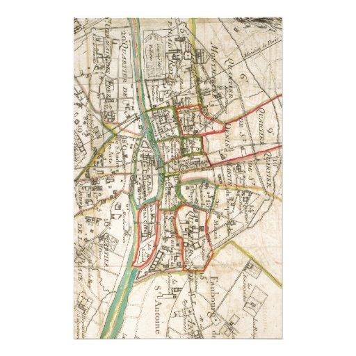 Mapa del vintage de París (1678) Papelería