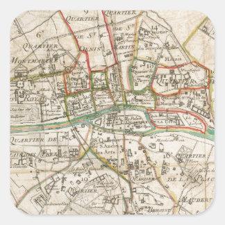 Mapa del vintage de París 1678 Calcomanía Cuadradas Personalizadas