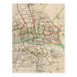 Mapa del vintage de París (1678) Tarjetas Postales