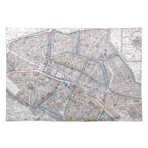 Mapa del vintage de París (1865) Mantel Individual