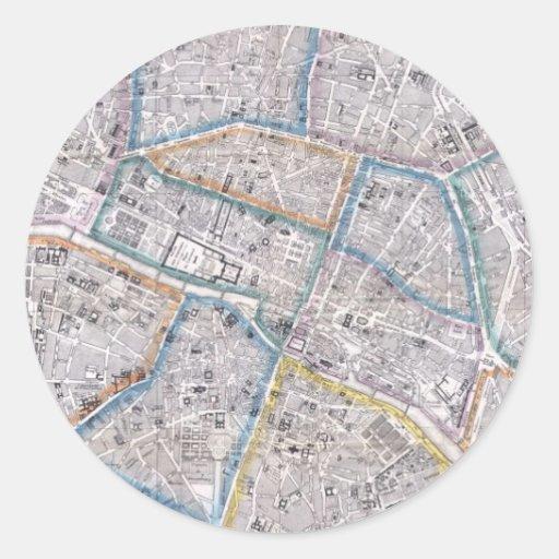 Mapa del vintage de París (1865) Pegatinas Redondas