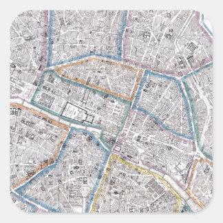 Mapa del vintage de París (1865) Pegatina Cuadrada
