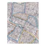 Mapa del vintage de París (1865) Postal