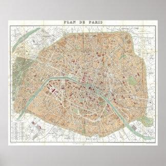 Mapa del vintage de París 1892 Poster