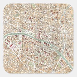 Mapa del vintage de París 1892 Calcomanías Cuadradases