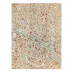 Mapa del vintage de París (1892) Postal