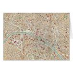 Mapa del vintage de París (1892) Tarjeta De Felicitación