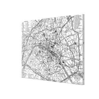 Mapa del vintage de París (1911) Impresión En Lona