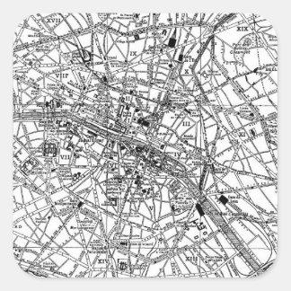 Mapa del vintage de París 1911 Calcomanía Cuadrada