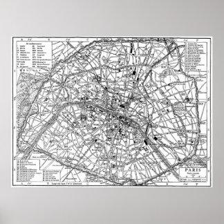 Mapa del vintage de París (1911) Póster