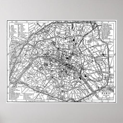 Mapa del vintage de París (1911) Posters