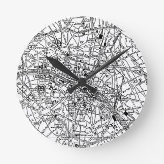 Mapa del vintage de París (1911) Relojes De Pared